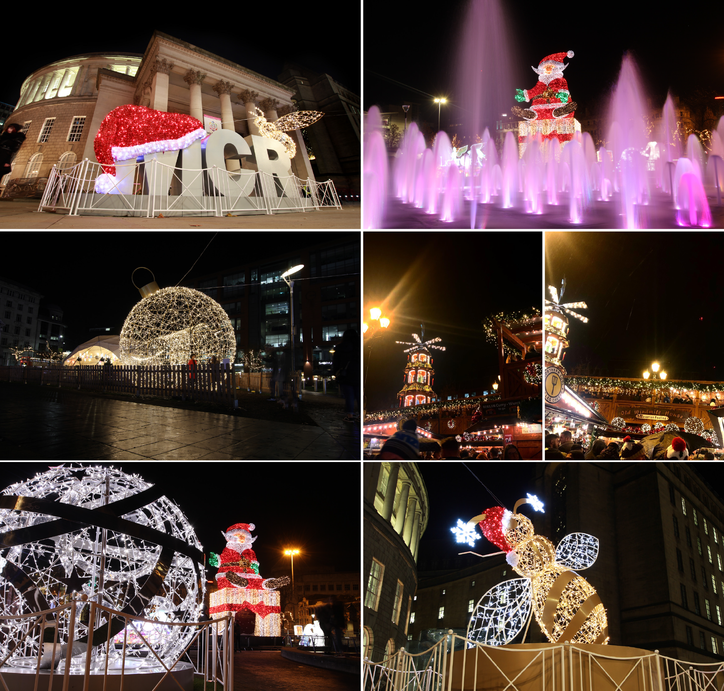 Manchester Christmas light displays and markets at night