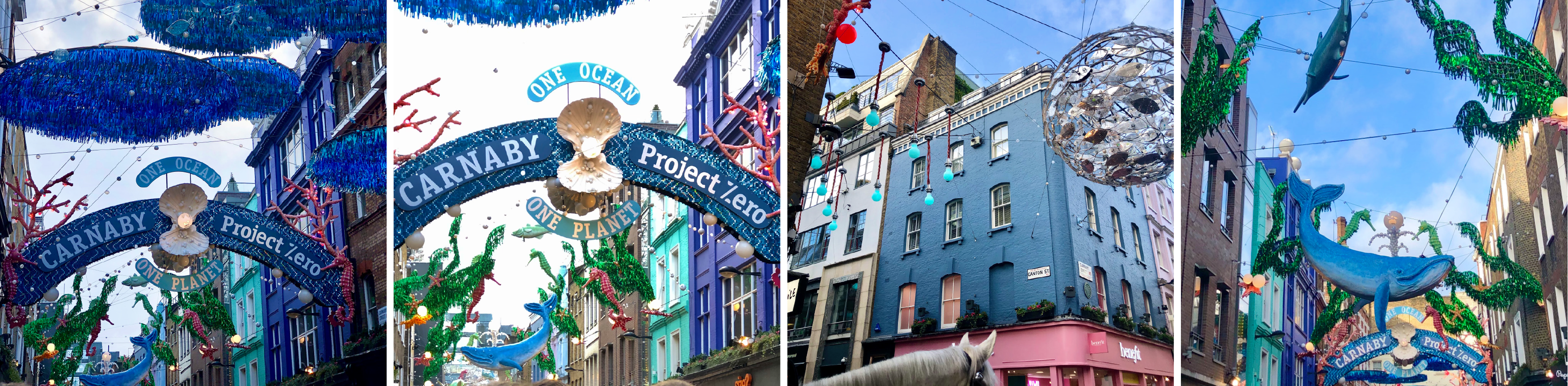 Collage of project zero decorations on Carnaby street in london