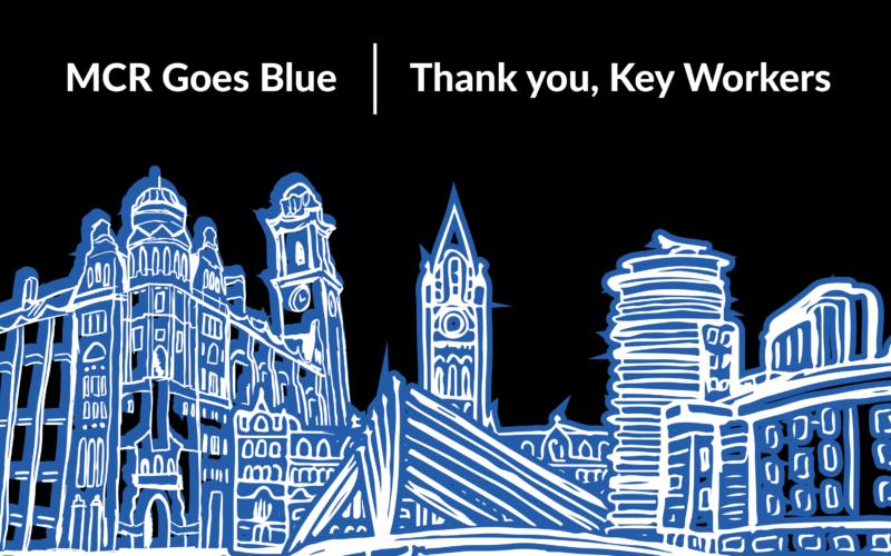 MCR GOES BLUE thankyou key workers