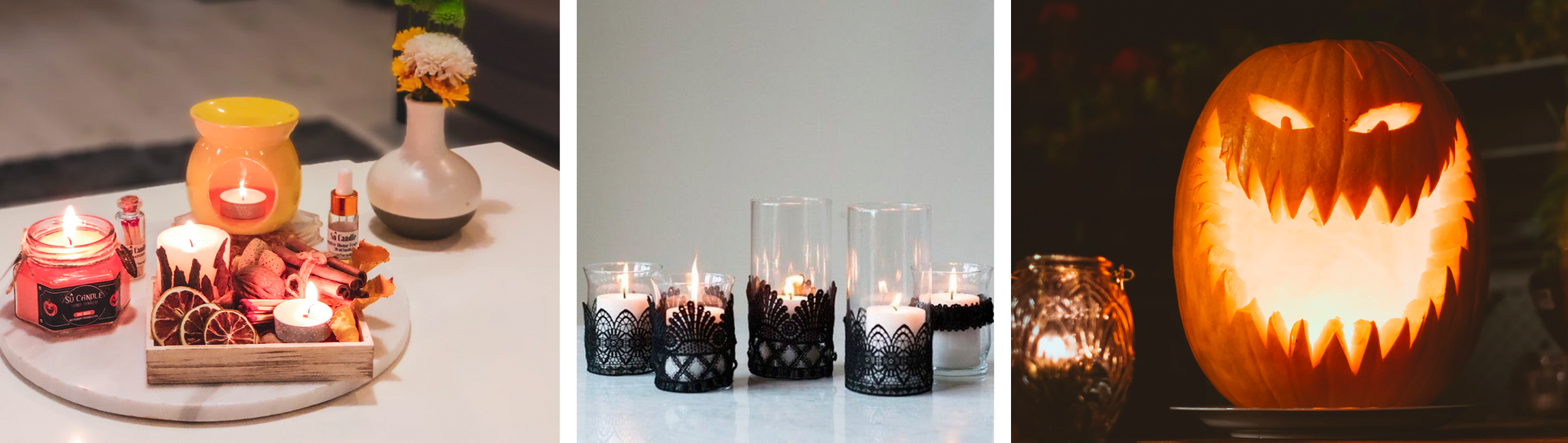 candle lace black halloween spooky freaky decorations centrepieces